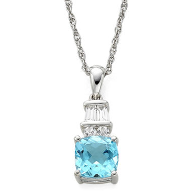 jcpenney.com | Genuine Blue Topaz and Lab-Created White Sapphire Pendant Necklace
