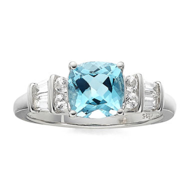 jcpenney.com | Genuine Blue Topaz and Lab-Created White Sapphire Sterling Silver 3-Stone Ring