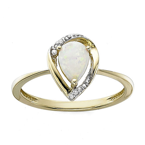 Pear-Shaped Lab-Created Opal and Diamond-Accent Ring