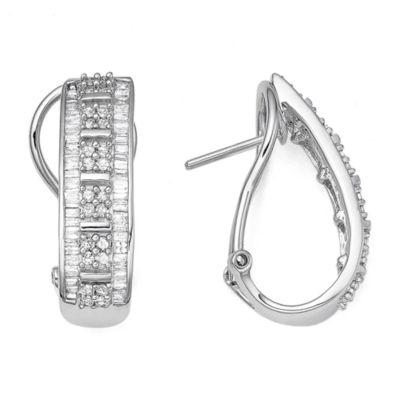 T W Diamond 10k White Gold J Hoop Earrings