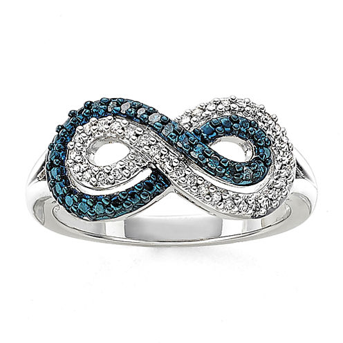 Infinity Promise 1/5 CT. T.W. White and Color-Enhanced Blue Diamond Sterling Silver Infinity Ring