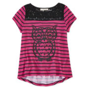 Self Esteem® High-Low Crochet Tee - Girls 7-16 and Plus