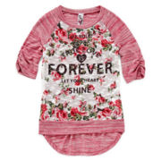 Beautees Rhinestone-Accented High-Low Top - Girls 7-16