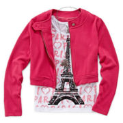 Beautees Quilted Jacket, Tank Top and Necklace - Girls 7-16