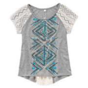 Beautees Lace-Inset Tee - Girls 7-16