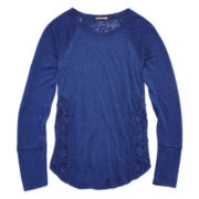 Arizona Long-Sleeve Lace-Inset Tee - Girls 7-16 and Plus
