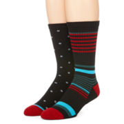 Reckless® Mens 2-pk. Stripe Dot Crew Socks
