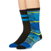 Reckless® Mens 2-pk. Paisley Crew Socks