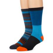 Reckless® Mens 2-pk. Striped Crew Socks
