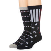 Reckless® Mens 2-pk. Stars & Stripes Crew Socks