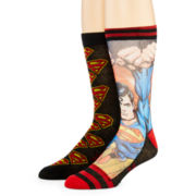 DC Comics™ Superman™ Mens 2-pk. Sublimated Crew Socks