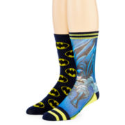 DC Comics™ Batman™ Mens 2-pk. Sublimated Crew Socks