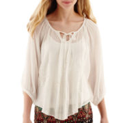 By & By 3/4-Sleeve Embroidered Gauze Peasant Top