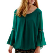 by&by Bell-Sleeve Chiffon Blouse
