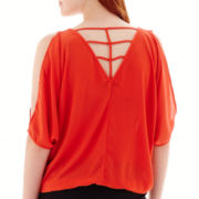 XOXO® 3/4-Sleeve Lattice-Back Cold-Shoulder Top