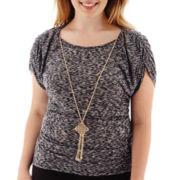 by&by Short-Sleeve Space-Dyed Knit Necklace Top - Plus