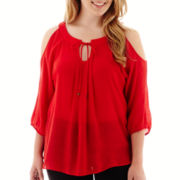 by&by 3/4-Sleeve Gauze Cold-Shoulder Top - Plus