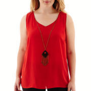 by&by Sleeveless Necklace Top - Plus