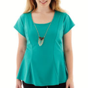 by&by Cap-Sleeve Peplum Necklace Top - Plus