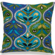 "Collier Campbell Pondicherry 16"" Embroidered Square Decorative Pillow"