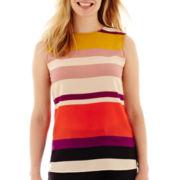 Liz Claiborne® Sleeveless Striped Shell - Petite