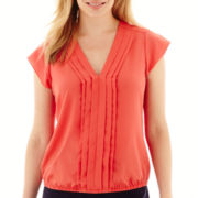 Liz Claiborne® Cap-Sleeve Front-Pleat Bubble Blouse - Petite
