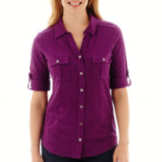 Liz Claiborne® 3/4-Sleeve Button-Front Knit Top - Petite