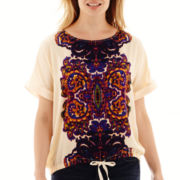 Liz Claiborne® Dolman-Sleeve Roll-Cuff Drawstring Blouse - Petite