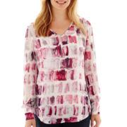 Liz Claiborne® Long-Sleeve V-Neck Blouse - Petite