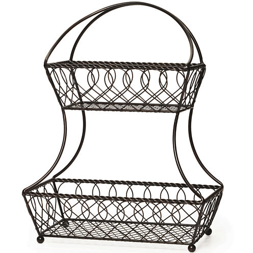 Gourmet Basics by Mikasa® Loop and Lattice 2-Tier Flat-Back Basket