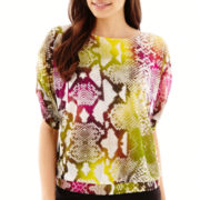 Worthington® Short Dolman-Sleeve Banded Blouse - Petite