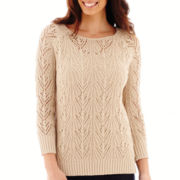 St. John's Bay® 3/4-Sleeve Crochet Sweater
