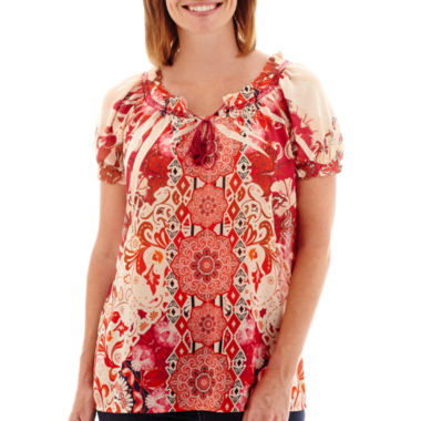 jcpenney.com | St. John's Bay® Short-Sleeve Peasant Top - Petite