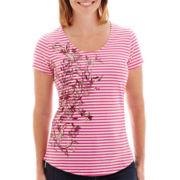 St. John's Bay® Short-Sleeve Striped Graphic T-Shirt - Petite