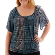 a.n.a® Short-Sleeve Banded Bottom Peasant Top - Plus