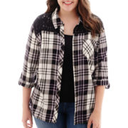 Arizona Long-Sleeve Plaid Lace Shirt - Plus