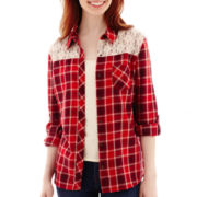 Arizona Long-Sleeve Plaid Lace Shirt