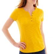 Liz Claiborne® Short-Sleeve Slub Henley T-Shirt