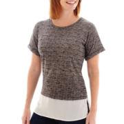 Liz Claiborne® Short-Sleeve Dual-Texture Slub T-Shirt - Tall
