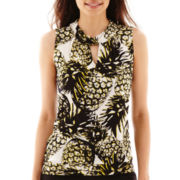 Worthington® Sleeveless Twist-Neck Keyhole Top - Petite