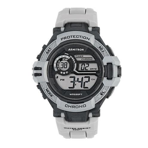 Armitron® Mens Light Gray Strap Watch