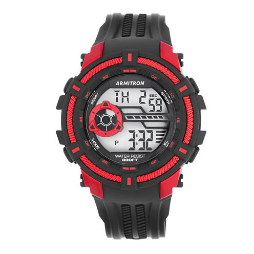 Armitron® Mens Black and Red Strap Watch