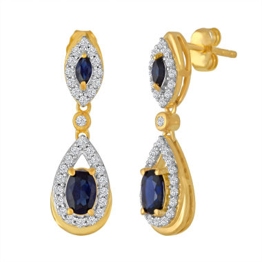 jcpenney.com | Lab Created Blue & White Sapphire 14K Gold Over Silver Earring