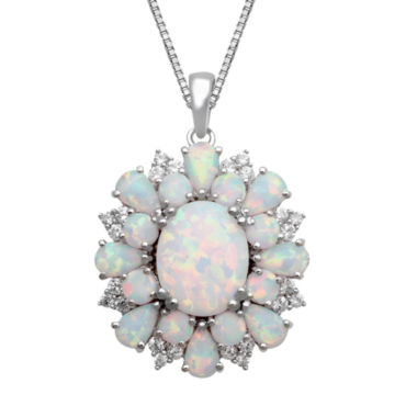jcpenney.com | Lab Created Opal & White Sapphire Sterling Silver Pendant Necklace