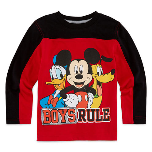 Okie Dokie® Long-Sleeve Mickey Mouse Colorblock Tee - Toddler Boys 2t-5t