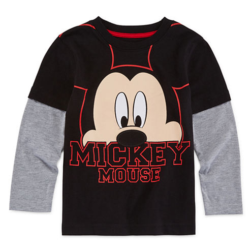 Okie Dokie® Long-Sleeve Mickey Mouse Tee - Toddler Boys 2t-5t
