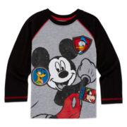 Okie Dokie® Mickey Mouse Long-Sleeve Raglan Tee - Toddler Boys 2t-5t