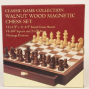 """Walnut Wood Magnetic Chess Set With 2.5"""" King"""