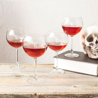jcpenney.com | Cathy's Concepts Set Of 4 Personalized Spooky 19-oz. Red Wine Glasses