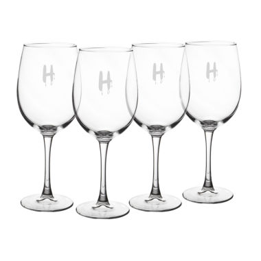 jcpenney.com | Cathy'S Concepts Set Of 4 Personalized Spooky 19-Oz. White Wine Glasses